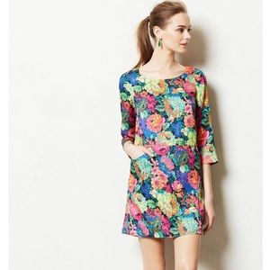 Anthropologie Bright Floral Tropicalist Shift